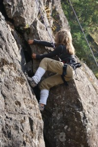 Tessa with most important rock climbing gear - leg warmers...