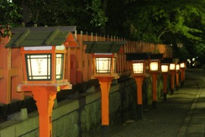 Lanterns lighting the way to a Shinto Shrine in Gion