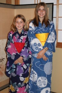 Phoebe & Tessa in their new summer kimono