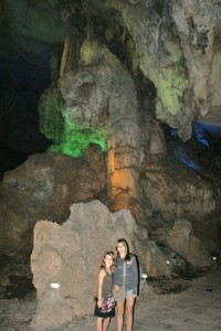 Phoebe and Tessa in cave