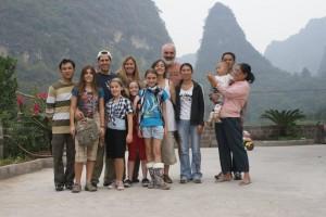 Our Moon Hill Resort crew:  Derek, Tessa, Jeff, Phoebe, Kate, Elsa, Sheila, Julie, Bass, WeiWei, Derek's Dad & Mom holding William