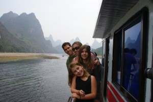 "Happily on our ""real"" Li River cruise boat"