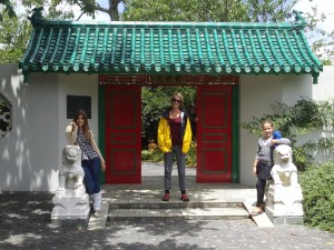 Tess, Olivia, and Phoebe in front of the Chinese Garden