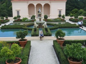 "The traditional ""Italian"" Garden at the Hamilton Gardens - with Phoebe posing of course!"