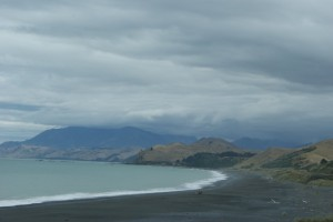 This is the coastline driving south along the eastern side of the island - all the sand is black! Totally beautiful!
