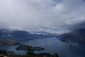 Queenstown and lake from high above on the gondola