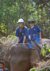 Kate and Tessa on Elephant Trek