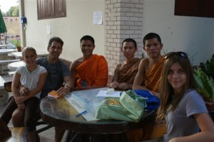 Chatting with the Monks.