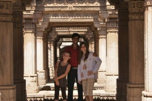 "Phoebe, Jeshel, and Tessa at the AMAZING ""step well"" in Ahmedabad."
