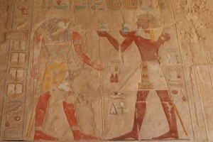 You can see the cracks in hieroglyphics because they pieced all of this back together from rubble.  The colors were still amazing after nearly 5000 years!