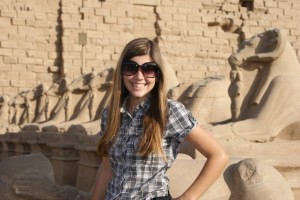 Tessa at the Avenue of the Sphynix at Karnak Temple