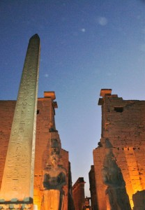 This is the entrance to Luxor Temple.  We visited it at night as they have it lite up beautifully!  There were two obelisks here at the entrance, but the king of Egypt gave the other one to France, and now it sits in in the middle of the Champs-Elyse!