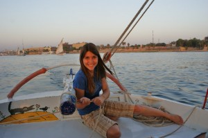 Tessa skippering the boat - she's quite the sailor!