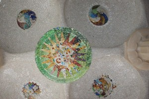 Mosaic in ceiling of covered market