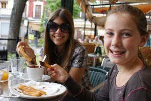 Tessa and Phoebe are becoming quite accustomed to the cafe lifestyle!  Here they are at a cafe in a square in Granda enjoying the very evil Spanish treat of churros and chocolate.  Nothing like fried dough and hot chocoate pudding to make you feel like a local!