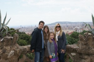 On top of walkway overlooking the city