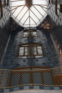 Looking up to courtyard roof covering