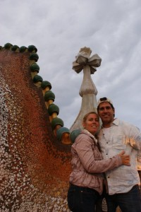 Me and my beatiful wife on the roof of Casa Batllo