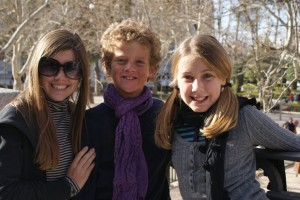 Tess, Jack & Phoebe at a park in Madrid.