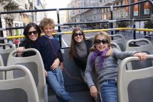 My sister Krissy, nephew Jack, Tess & Phoebe cruising Madrid on the Big Red Bus!