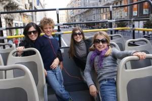 My sister Krissy, nephew Jack, Tess & Phoebe cruising Madrid on the Big Red Bus!