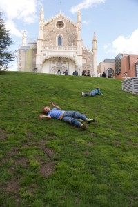 Jack and Phoebe taking part in our family tradition of rolling down any large grassy hill we can find - in this case behind the Del Prado Musuem!